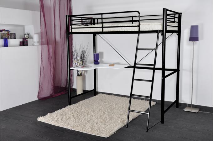 Lit mezzanine 90x190cm avec bureau noir blanc lit enfant pas cher - Lit mezzanine blanc avec bureau ...