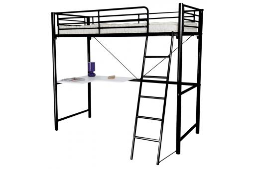 lit mezzanine 90x190cm avec bureau noir blanc lit enfant pas cher. Black Bedroom Furniture Sets. Home Design Ideas