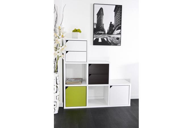 Escalier avec rangements 6 cases blanc meuble de for Meuble 6 cases blanc
