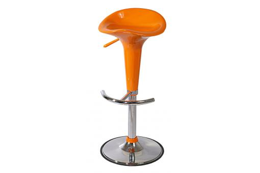 Tabouret réhaussable Chrome/Orange