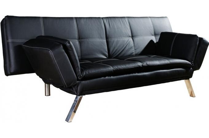 Banquette lit imitation cuir noir surpiq res blanches canap convertible pas cher for Banquette lit cuir