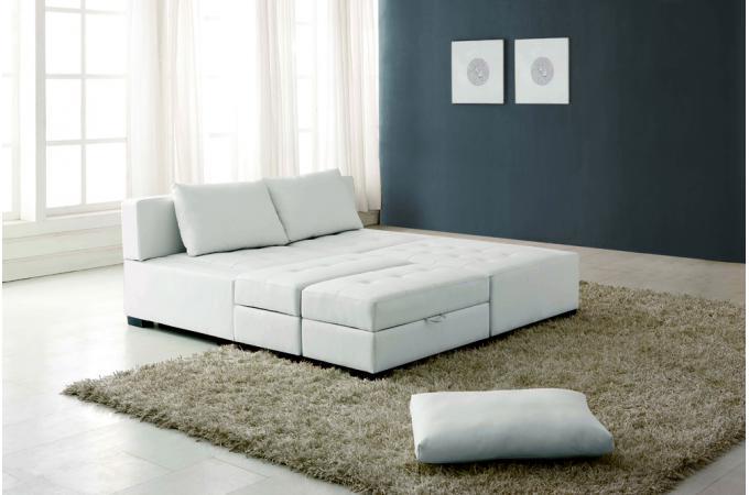 canap d 39 angle r versible et convertible avec pouf coffre table basse en cuir de synderme blanc. Black Bedroom Furniture Sets. Home Design Ideas