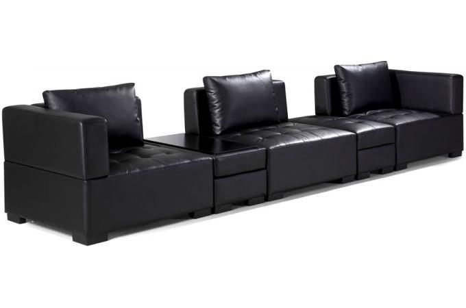 canap d 39 angle r versible et convertible avec pouf coffre table basse en cuir de synderme noir. Black Bedroom Furniture Sets. Home Design Ideas