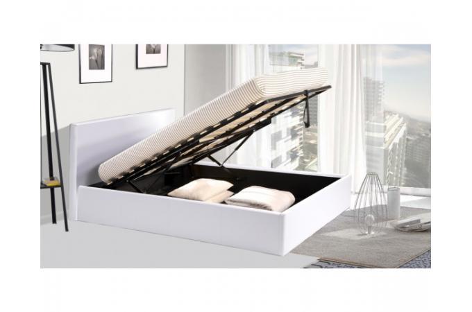 lit coffre 160x200 blanc avec sommier lit design pas cher. Black Bedroom Furniture Sets. Home Design Ideas
