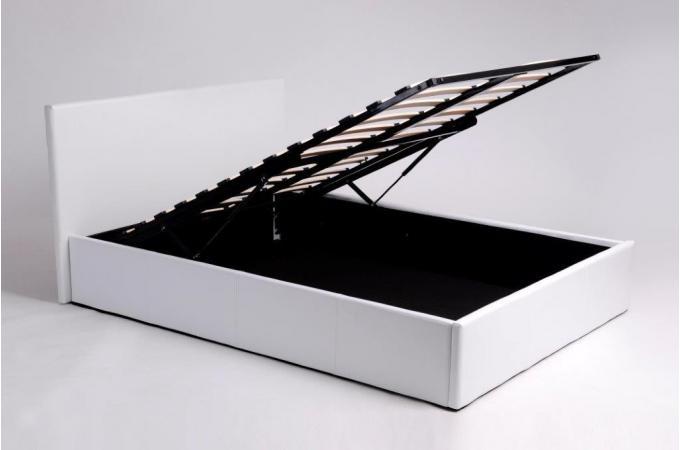 lit coffre 140x190 blanc avec sommier lit design pas cher. Black Bedroom Furniture Sets. Home Design Ideas