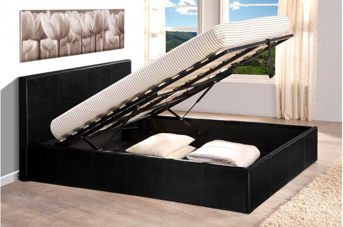 lit coffre 140x190 noir avec sommier lit design pas cher. Black Bedroom Furniture Sets. Home Design Ideas