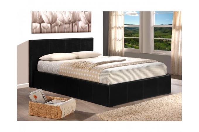 lit coffre 140x190 noir avec sommier lit design pas cher. Black Bedroom Furniture Sets. Home Design Ideas