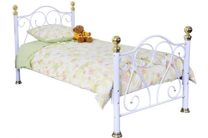 lit en m tal 90x190cm darius blanc lit design pas cher. Black Bedroom Furniture Sets. Home Design Ideas