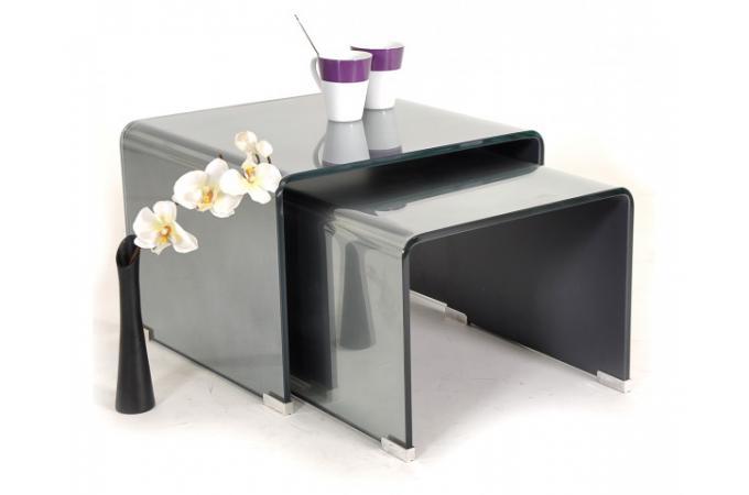 Ensemble 2 tables gigognes verre miroir non tremp table basse pas cher for Tables gigognes verre