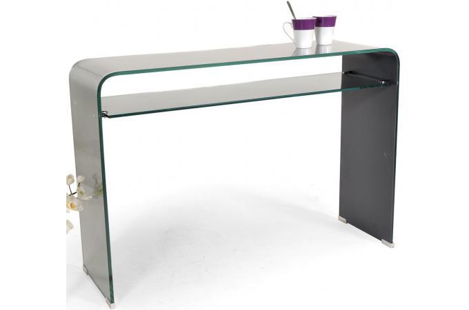 Console verre miroir tremp avec tablette console pas cher - Console verre trempe ...