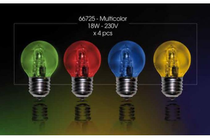 66725 pack de 4 ampoules halog nes multicolores de 230v 15w e27 pour guirlande 63025. Black Bedroom Furniture Sets. Home Design Ideas