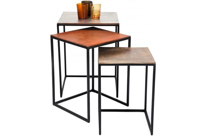 lot de 3 tables loft square vintage table d 39 appoint pas cher. Black Bedroom Furniture Sets. Home Design Ideas