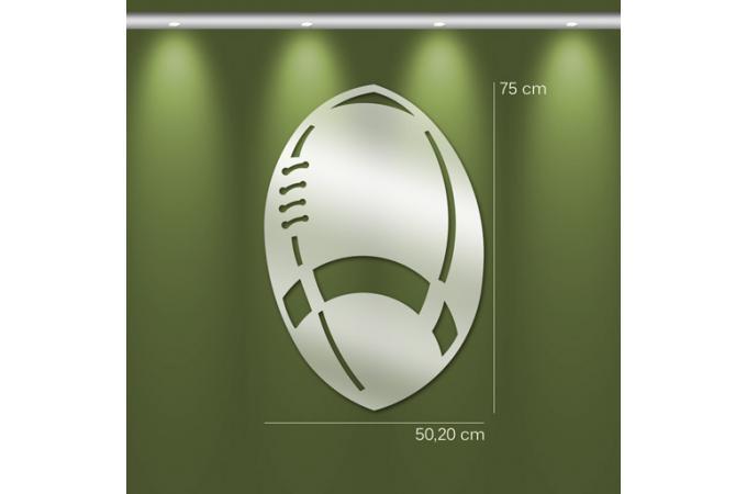 Miroir rugby gm argent en verre thor 75 x 50 cm miroir for Miroir rond 50 cm pas cher