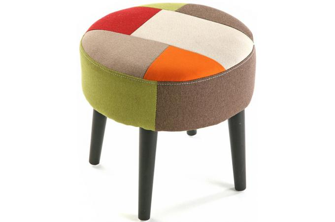 tabouret multicolore en coton m lodie petit tabouret pas cher. Black Bedroom Furniture Sets. Home Design Ideas
