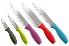 Ménagère Set de 5 couteaux multicolores en acier Manon, deco design
