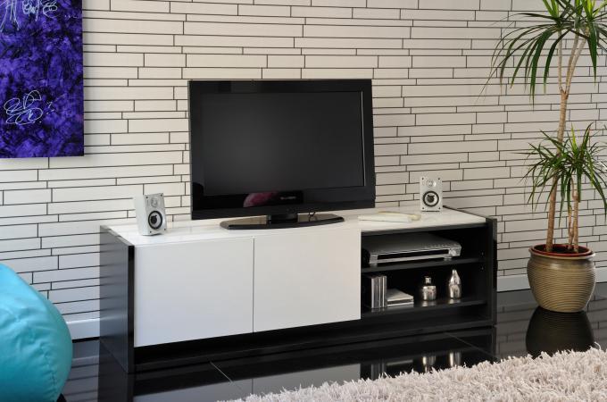 Meuble tv blanc et noir plaqu bois loft meuble tv pas cher for Meuble tv bois et blanc pas cher