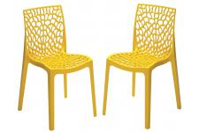 DeclikDeco - Lot de 2 Chaises Design Jaune Perle GRUYER - Chaise design et tabouret design