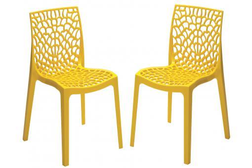 lot de 2 chaises design jaune perle gruyer chaise design pas cher. Black Bedroom Furniture Sets. Home Design Ideas