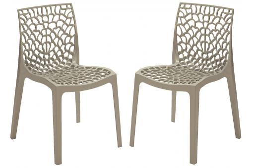 Lot de 2 chaises design grise brillant GRUYER OPAQUE