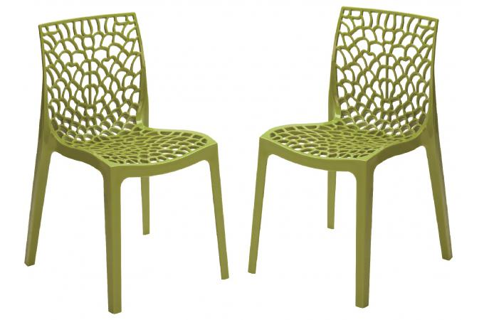 Lot de 2 chaises design vert anis gruyer opaque chaise for Chaise jardin vert anis