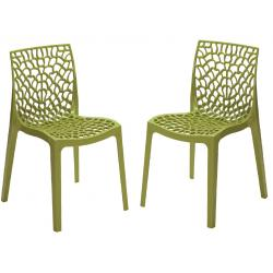 Lot de 2 Chaises Design Vertes Anis GRUYER