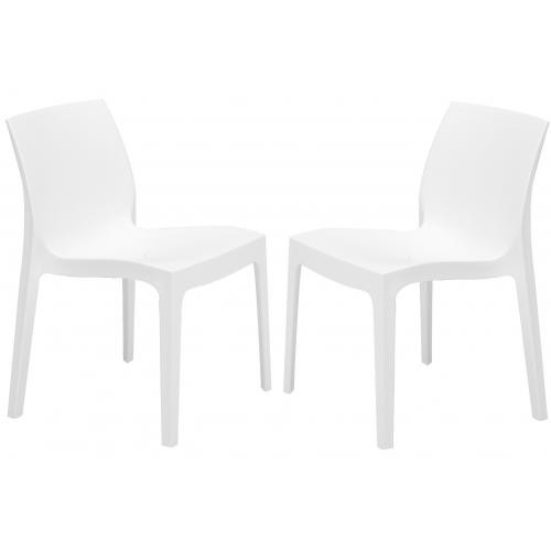 Lot de 2 Chaises Design Blanches ISTANBUL - Promotions Declikdeco