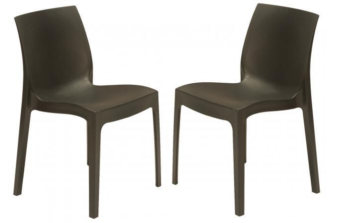Lot de 2 chaises design grises anthracite istanbul - Chaise de jardin gris anthracite ...