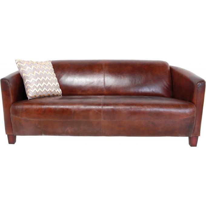 canap lounge marron en cuir edgard canap 2 places pas cher. Black Bedroom Furniture Sets. Home Design Ideas
