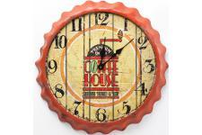 Horloge Design Horloge murale orange en bois Renalde, deco design