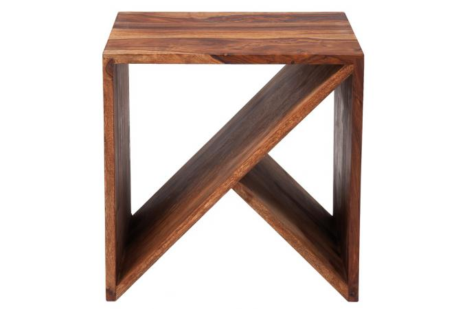 Table basse cube zigzag bois sheesham table basse pas cher for Sheesham lampe