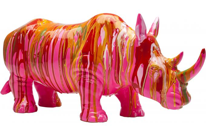 deco figurine rhino rouge statue design pas cher. Black Bedroom Furniture Sets. Home Design Ideas