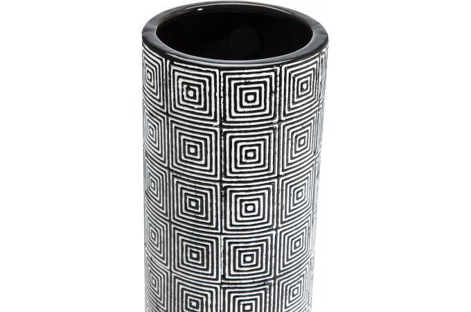 grand vase cylindr labyrinthe noir et beige vase pas cher. Black Bedroom Furniture Sets. Home Design Ideas