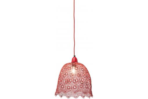 Suspension Lampe Flower Weave Rouge