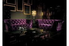 Canapé 2 places Kingdom violet - Canape chesterfield violet
