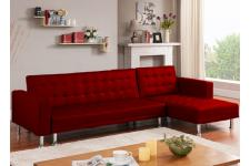 Canapé d'angle convertible Rouge LOS - Canape chesterfield rouge