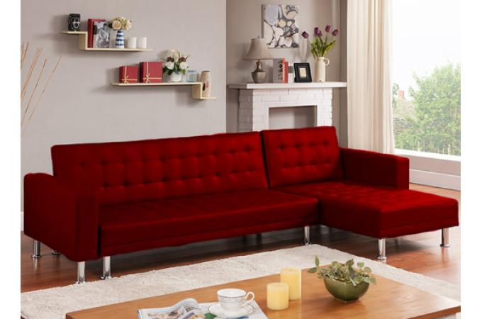 Canap d 39 angle convertible rouge los canap chesterfield - Canape rouge pas cher ...