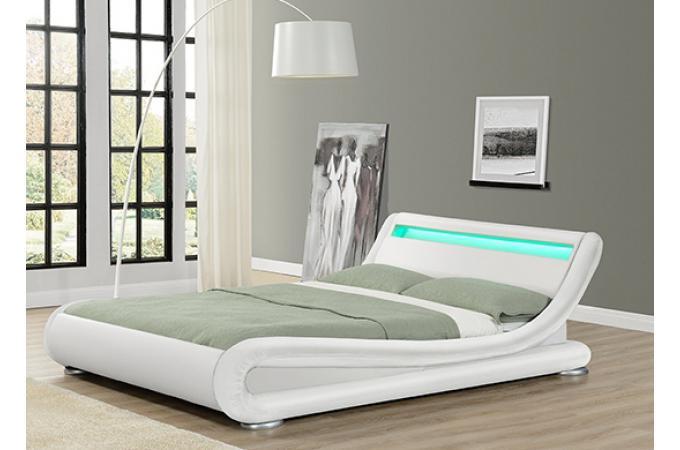 lit design led julio blanc 140cm lit design pas cher. Black Bedroom Furniture Sets. Home Design Ideas