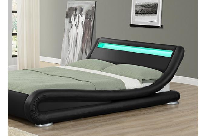 lit design led julia noir 160cm lit design pas cher. Black Bedroom Furniture Sets. Home Design Ideas