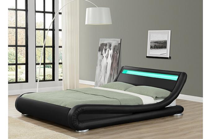 Lit design led julio noir 160cm lit design pas cher - Lit 160x200 design pas cher ...