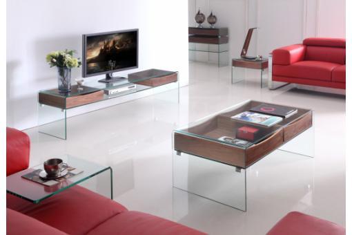 Meuble t l glasgow en verre et bois meuble tv pas cher for Meuble tele en verre