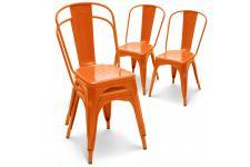 Chaise Design Lot de 4 chaises oranges en métal Prague, deco design