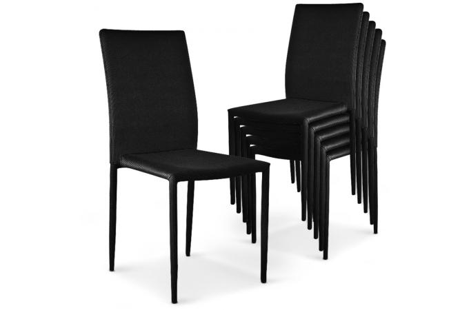 lot de 6 chaises empilables noires en tissu suva chaise design pas cher. Black Bedroom Furniture Sets. Home Design Ideas