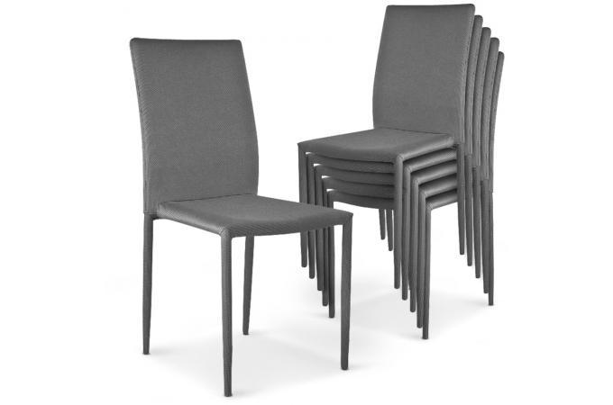 lot de 6 chaises empilables grises en tissu suva chaise design pas cher. Black Bedroom Furniture Sets. Home Design Ideas