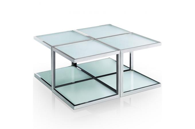 table basse modulaire blanche en inox sofia table basse pas cher. Black Bedroom Furniture Sets. Home Design Ideas