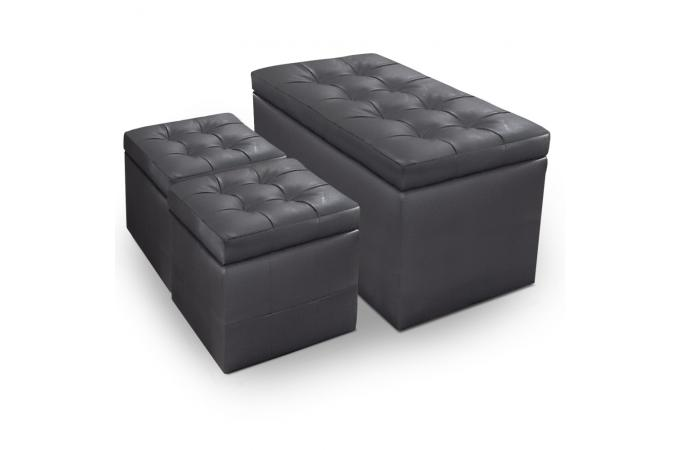 banquette et 2 poufs gris en imitation cuir saint john 39 s. Black Bedroom Furniture Sets. Home Design Ideas