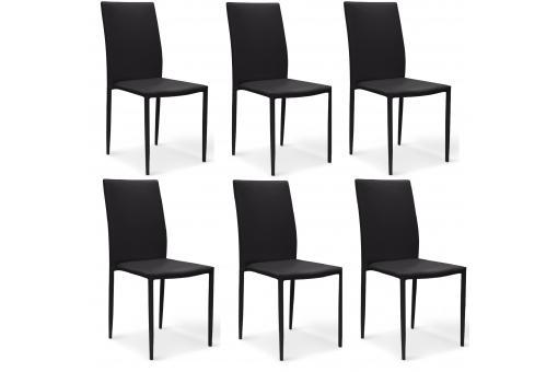 Lot de 6 chaises noires en simili praia chaise design for Lot 6 chaises noires