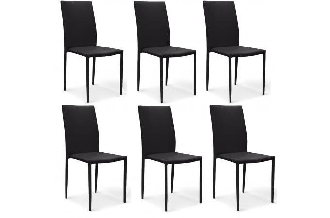 Lot de 6 chaises noires en imitation cuir praia chaise for Lot 6 chaises noires