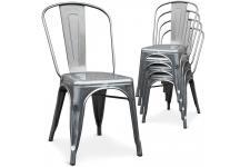 Chaise Design Lot de 4 chaises argentées en métal Prague, deco design