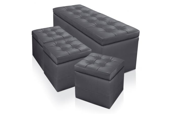 banquette et 3 poufs gris en imitation cuir saint john 39 s. Black Bedroom Furniture Sets. Home Design Ideas