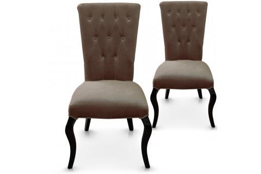 Lot de 2 chaises taupes en velours baroque port vila chaise design pas cher - Chaise en velours ...